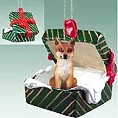 Resin RED FOX in Green Package Giftbox Animal Wildlife Christmas Ornament