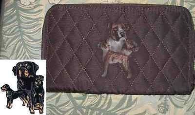 Belvah Quilted Fabric ROTTWEILER Dog Breed Zip Around Brown Ladies Wallet