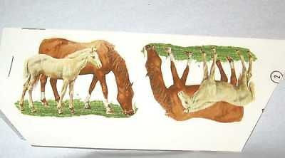 "Ceramic Decal Chestnut MARE & FOAL Horse 2 3/4"" Decal 4 pieces"