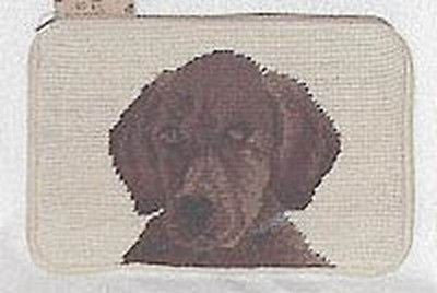 CLEARANCE..LABRADOR CHOCOLATE Dog Needlepoint Cosmetic Bag Zippered Pouch