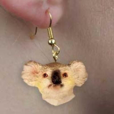 CLEARANCE..Animal Wildlife KOALA Head Resin Dangle Earrings