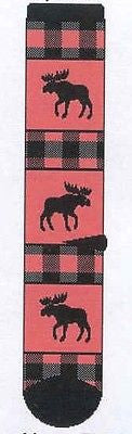 Wildlife Animal MOOSE Red Plaid Adult Cushioned Socks size Large 10-13