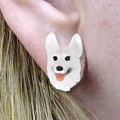 CLEARANCE Post Style GERMAN SHEPHERD WHITE Dog Head Post Earrings Jewelry