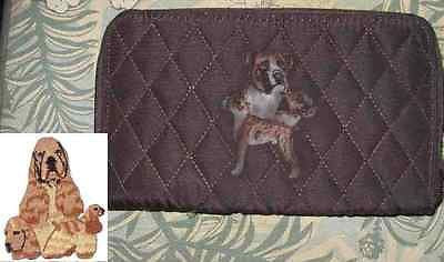 Belvah Quilted Fabric COCKER SPANIEL BUFF Dog Breed Zip Around Ladies Wallet