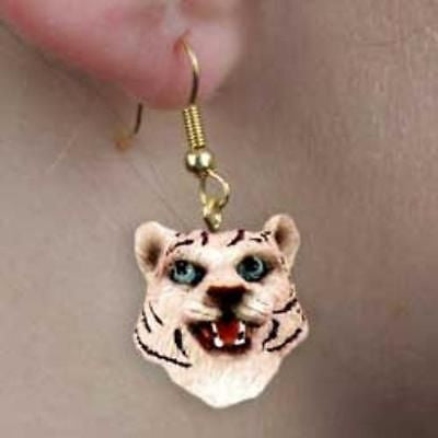 CLEARANCE..Animal Wildlife TIGER WHITE Head Resin Dangle Earrings