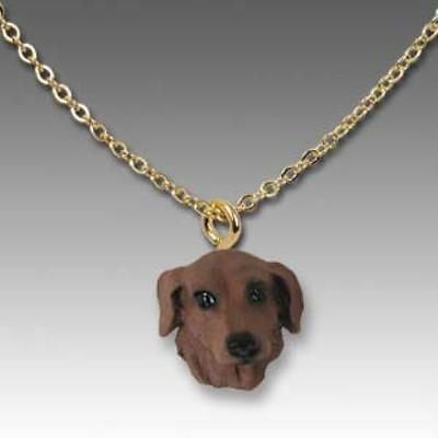 Dog on Chain DACHSHUND RED Resin Dog Head Necklace Jewelry Pendant