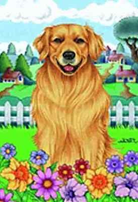 Large Flag Golden Retriever Dog Breed Spring Colors House Flag 28 x 40