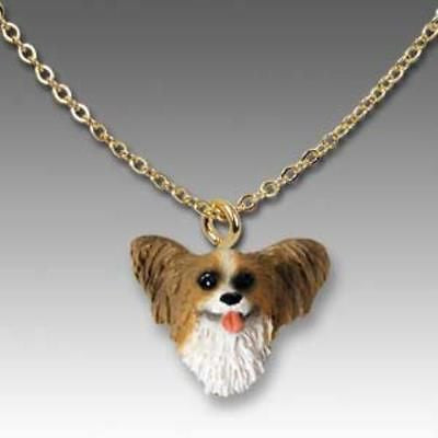 Dog on Chain PAPILLON BROWN Resin Dog Head Necklace Jewelry Pendant