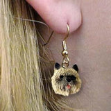Dangle Style CAIRN TERRIER BROWN Dog Head Resin Earrings Jewelry