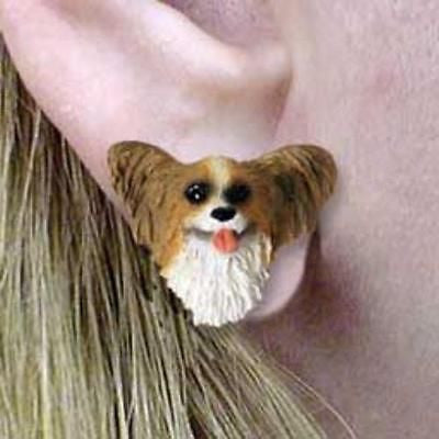 CLEARANCE Post Style PAPILLON BROWN Resin Dog Head Post Earrings Jewelry