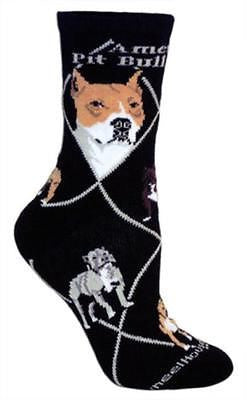 Adult Size Medium AMERICAN PITBULL Adult Socks/Black Made in USA