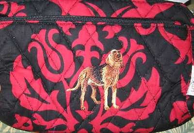 Quilted Fabric BLOODHOUND Dog Breed Damask Zipper Pouch Cosmetic Bag