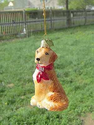 Quality Glass GOLDEN RETRIEVER III Blown Glass Dog Breed Christmas Ornament
