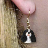 CLEARANCE Dangle Style CAVALIER KING CHARLES B/W Dog Head Earrings Jewelry