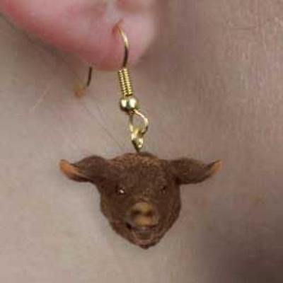 CLEARANCE..Farm Animal PIG BLACK Head Resin Dangle Earrings