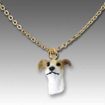 Dog on Chain GREYHOUND TAN Resin Dog Necklace Jewelry Pendant