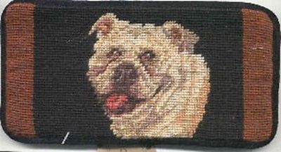 CLEARANCE..BULLDOG II Dog Breed Needlepoint Eyeglass Sunglasses Case