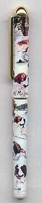 Writing Pen SAINT BERNARD Dog Breed Smooth Rollerball Black Ink Pen