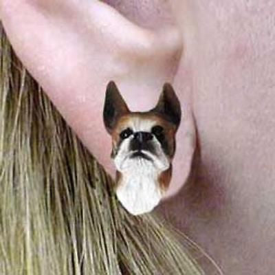 CLEARANCE Post Style BOXER BRINDLE Resin Dog Head Post Earrings Jewelry