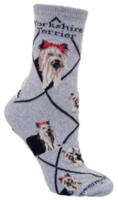 Adult Size Medium YORKSHIRE TERRIER Adult Socks/Grey Made in USA