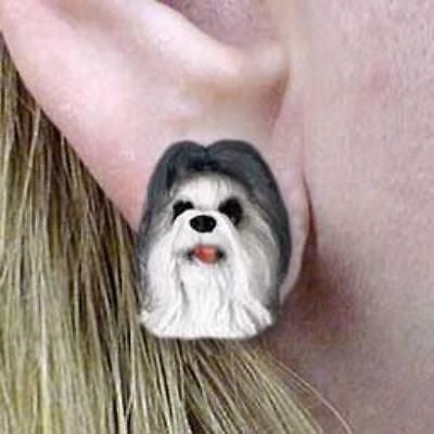 CLEARANCE Post Style SHIH TZU GRAY Resin Dog Head Post Earrings Jewelry