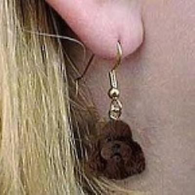 CLEARANCE Dangle Style POODLE MINI CHOCOLATE Dog Head Resin Earrings Jewelry