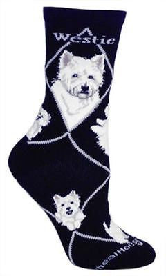 Adult Size Medium WESTIE Adult Socks/Black Made in USA