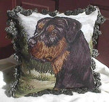 CLEARANCE..NP pillow ROTTWEILER Dog Breed Needlepoint Fringed Pillow