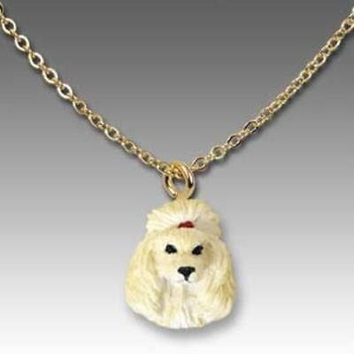 CLEARANCE Dog on Chain POODLE APRICOT Resin Dog Necklace Jewelry Pendant