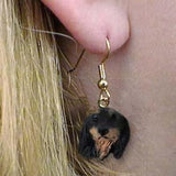 CLEARANCE Dangle Style DACHSHUND LONGHAIR BLK Dog Head Earrings Jewelry