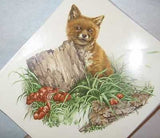 "Ceramic Decal RED FOX Baby with Stump 6"" Large Decal 2 pieces"