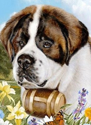 Outdoor Small Flag Saint Bernard Dog Summer Flowers Garden Flag