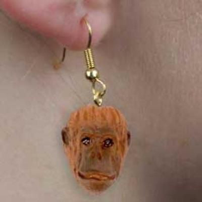 CLEARANCE..Animal Wildlife ORANGUTAN Head Resin Dangle Earrings