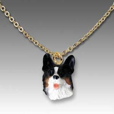 CLEARANCE Dog on Chain WELSH CORGI TRI Resin Dog Necklace Jewelry Pendant