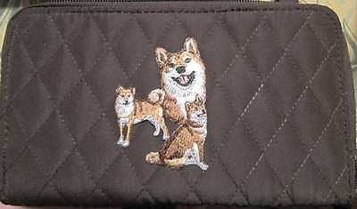 Belvah Quilted Fabric SHIBA INU Dog Breed Zip Around Brown Ladies Wallet