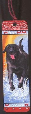 QA LAB RETRIEVER BLACK Dog Plastic Bookmarks w/tassel set of 2 CLEARANCE