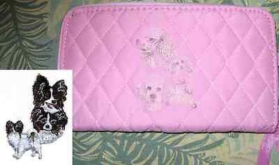 Belvah Quilted Fabric PAPILLON Dog Breed Zip Around Pink Ladies Wallet