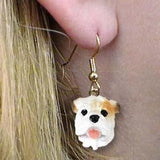 Dangle Style BULLDOG WHITE Dog Head Resin Earrings Jewelry CLEARANCE