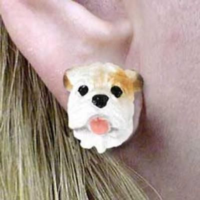 CLEARANCE Post Style BULLDOG WHITE Resin Dog Head Post Earrings Jewelry