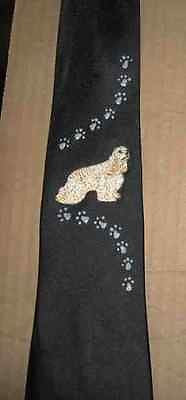 Mens Necktie COCKER SPANIEL BLONDE STANDING Dog Breed Mens Accessory Polyester Tie