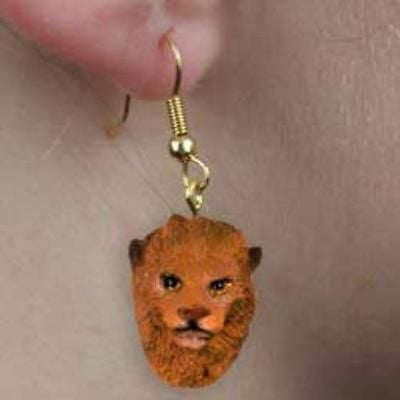 CLEARANCE..Animal Wildlife LION Head Resin Dangle Earrings