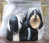 CLEARANCE...Fine Quality SHIH TZU B/W Blown Glass Xmas Ornament