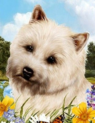 Outdoor Small Flag Cairn Terrier Dog Summer Flowers Garden Flag