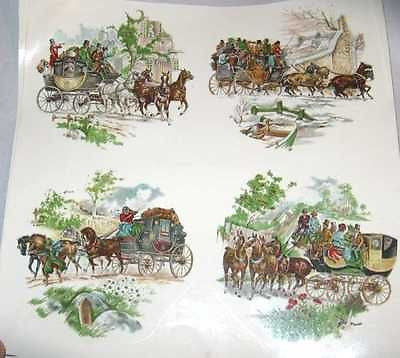 "Ceramic Decal Vintage COACHING Scene Horse 3 3/4"" Decal 8 pieces"