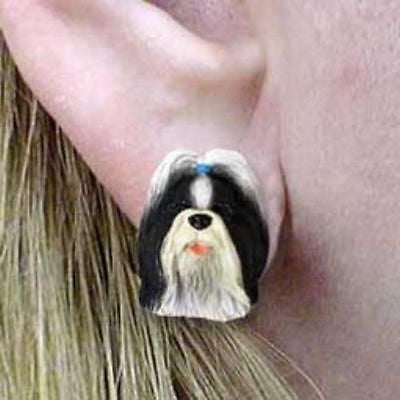 CLEARANCE Post Style SHIH TZU B/W Resin Dog Head Post Earrings Jewelry