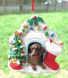 Cute DACHSHUND Dog House Christmas Ornament RETIRED