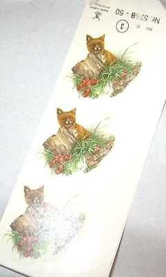 "Ceramic Decal RED FOX Baby with Stump 2"" Decal 6 pieces"