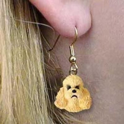 CLEARANCE Dangle Style POODLE MINI APRICOT Dog Head Resin Earrings Jewelry