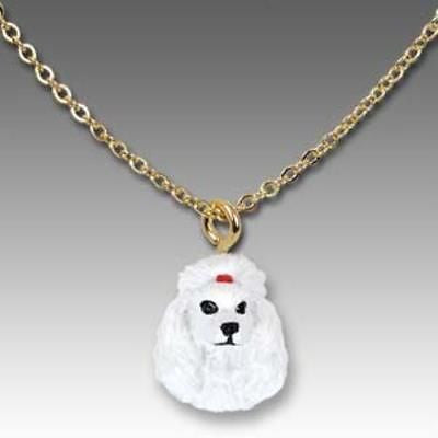 CLEARANCE Dog on Chain POODLE WHITE Resin Dog Necklace Jewelry Pendant