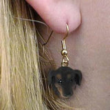 Dangle Style DACHSHUND BLACK Dog Head Resin Earrings Jewelry